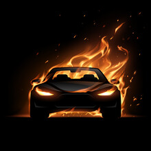 Black Car Silhouette With Fire Flame Effect