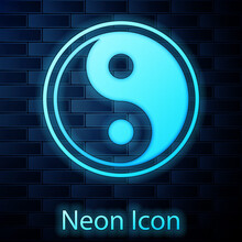 Glowing Neon Yin Yang Symbol Of Harmony And Balance Icon Isolated On Brick Wall Background. Vector Illustration.