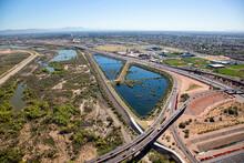 Flood Control, Freeways And Bike Path Over Mesa, Arizona