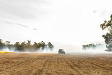 Rural Scene With Smoke From Bu...