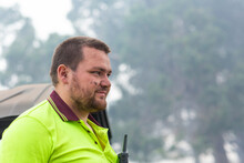 Young Bloke With Dirt On Face In Hi-vis