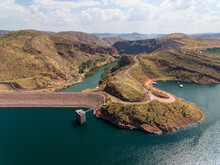 Aerial View Over Lake Argyle Showing The Dam Wall