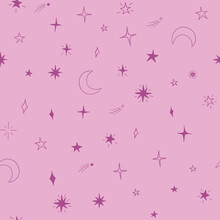 Celestial Seamless Vector Pattern With Stars And Moon On Pink Background. Texture For Fabric, Wrapping, Textile, Wallpaper, Apparel.