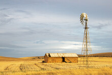 Old Stone Shed With Windmill In Golden Stubble Paddock