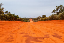 Red Dirt Road Disappearing Into The Distance