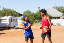 Two Mates With Basketball In V...