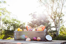 Fresh Food Fruit And Veg In Crate On Wooden Table Outside