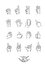 Set Of Hands Counting, Holding Smartphone, Pointing, Showing Gestures, OK., Handshake, Hand Drawn Vector Illustration In Black Line