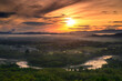 Views of the curved river and mountains during sunrise Beautiful natural landscape in summer
