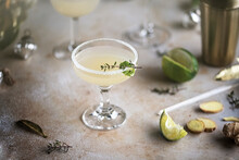 Ginger Lime Cocktail With Herb...
