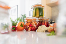 Pickled Vegetables In Jars On ...
