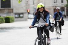 Portrait Smiling Woman Riding ...