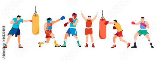 Obraz na plátně Set of isolated boxing people on white background