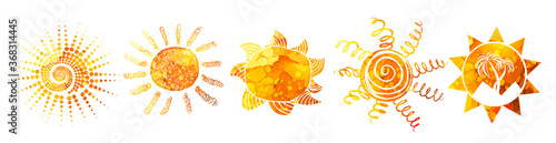 Fototapeta Set Symbols bright colorful funny sun. T-shirt print. Mixed media. Vector Illustration. obraz