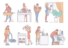 Housewife Performs Housework Activity, Sketch Vector Isolated Illustrations Set.