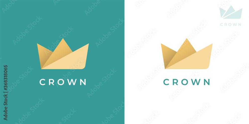 Fototapeta Premium paper crown logo icon. Abstract brand identity symbol design. Modern business origami concept sign. Vector illustration