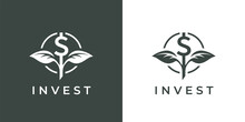 Finance Invest Logo Icon. Dollar Plant Grow Symbol. Financial Money Investment Fund Sign. Capital Growth Emblem. Vector Illustration.