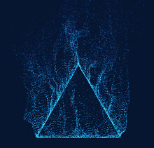 Dissolved Pyramid Vector. Smoke Particles Flow Up. Technology Triangle Shape