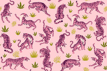 Pink Tigers And Tropical Leaves. Vector Seamless Pattern With Cute Tigers On Background. Fashionable Fabric Design.