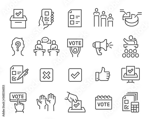 Fototapeta Voting and Election Icons Set. Collection of linear simple web icons such as Form, Online Voting, Debate, Candidate Rating, Vote Count and others. Editable vector stroke. obraz