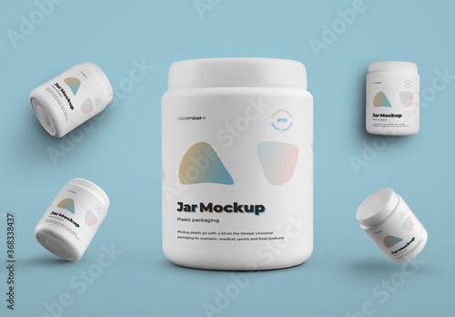 Obraz 5 Large Plastic Jar Mockups - fototapety do salonu