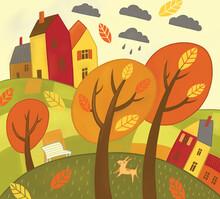 Decorative Children's Illustration Autumn Landscape With