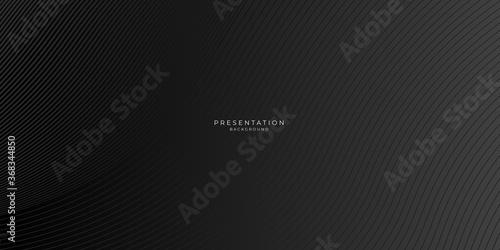 Fototapeta Modern simple black background with abstract wave spiral modern element for banner, presentation design and flyer obraz