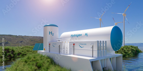 Hydrogen renewable energy production - hydrogen gas for clean electricity solar and windturbine facility Fototapete