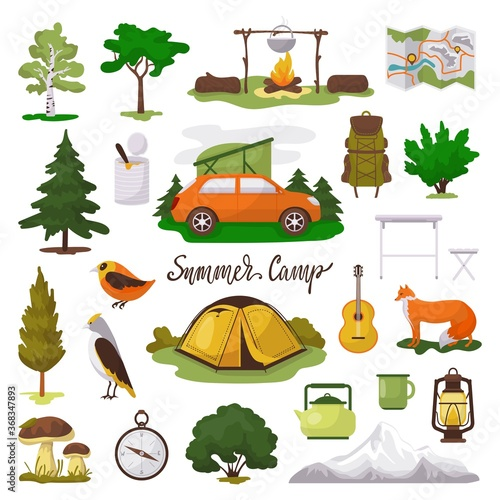 Obraz Camp adventure vector illustration icons set. Cartoon flat tourist camping equipment, map, tent and campfire, green trees and animals in forest. Elements of outdoor summer tourism isolated on white - fototapety do salonu