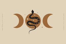 Magic Snake With Moon And Crescents. Mystical Symbols In A Trendy Minimalist Style On A Light Background. Magic Illustration For Spiritual Practices Of Ethnic Magic And Astrological Rites.