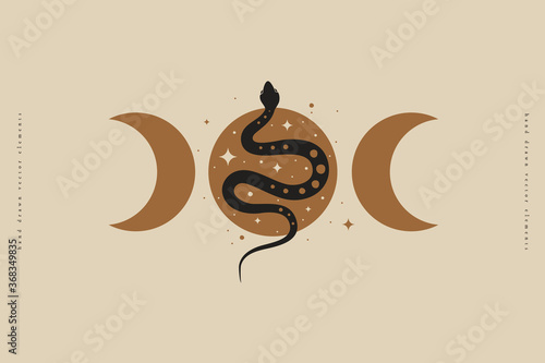 Obraz Magic snake with moon and crescents. Mystical symbols in a trendy minimalist style on a light background. Magic illustration for spiritual practices of ethnic magic and astrological rites. - fototapety do salonu