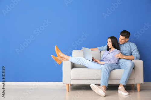 Fotografie, Obraz Young couple with laptop relaxing on sofa at home