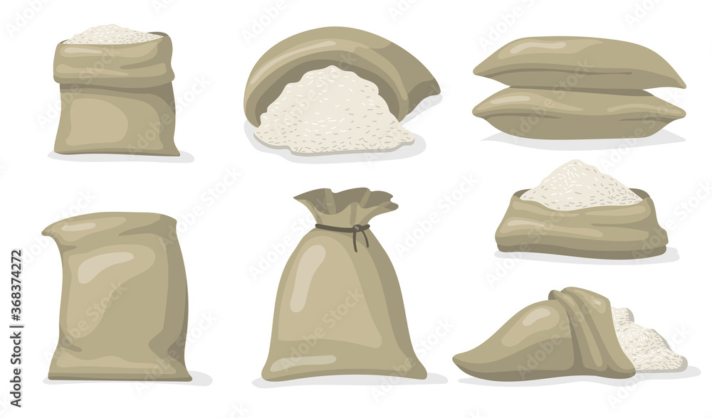 Fototapeta Various sacks of white rice flat icon set. Cartoon large bags and big packs with raw grains of rice isolated vector illustration collection. Food storage and packaging concept