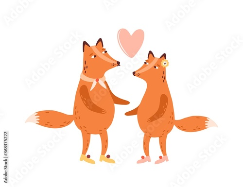 Couple of cute scandinavian foxes in love, heart above. Childish cartoon animals. 14 february, valentines day decorative element. T shirt print. Flat vector illustration isolated on white background
