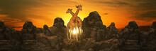 Giraffe At Sunset. 3d Rendering