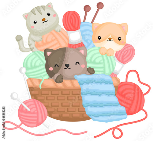 Obraz a vector of cats playing with yarns in a basket - fototapety do salonu