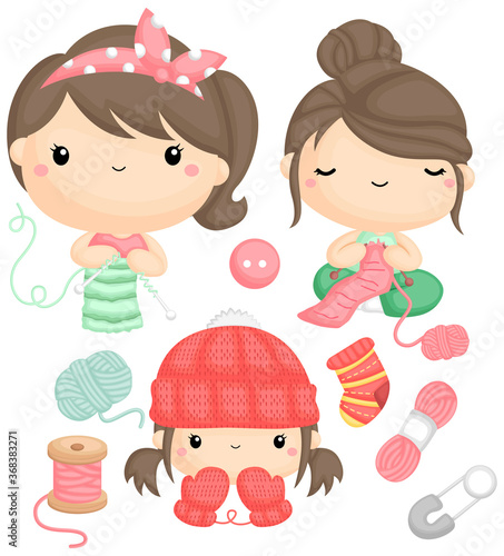 a vector of girls knitting and their finished clothes