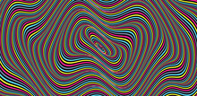 Abstract Circular Striped Background, Pattern With Optical Illusion, 3D Geometrical Vector Illustration