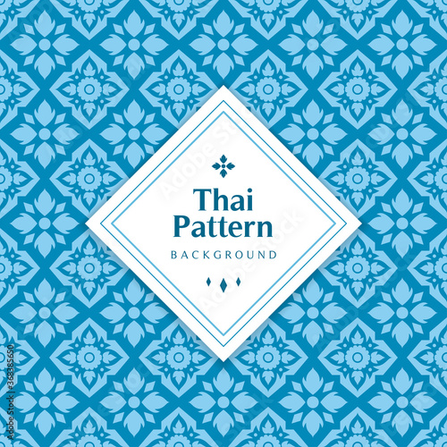 Blue classic Thai seamless pattern background vector illustration. Flat Lai Thai design