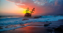 Sailing Ship In Storm Sea Agai...