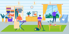 Family In House Do Housework, Cartoon Home Vector Illustration. People Man Woman Character Cleaning Room Together, Domestic Cleaner. Household Work, Flat Father Mother Clean Inside.
