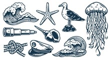 Set Of Nautical Elements For Marine Design