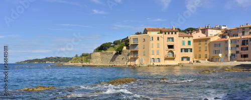 Panoramique Crique de Niki Beach à Saint Tropez (83990), Var en Provence-Alpes-C Tableau sur Toile