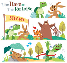Vector Illustration Of Cartoon The Hare And The Tortoise Character Set.  Turtle And Rabbit Racing. Fairy Fable Tale Characters.