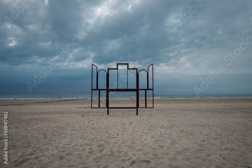 Fotografering Metal frame on the beach of Ostend in Belgium