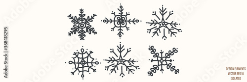 Seamless winter snowflake set illustration clipart Canvas Print