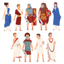 Roman People In Traditional Clothes Collection, Ancient Rome Citizens And Legionnaires Characters Vector Illustration