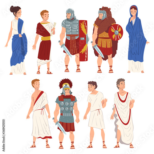 Leinwand Poster Roman People in Traditional Clothes Collection, Ancient Rome Citizens and Legion