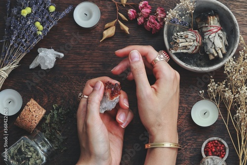 Fotografie, Obraz Witches hands on a table ready for spell work