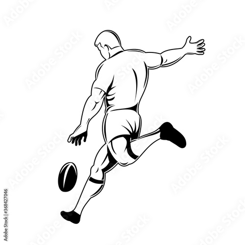Valokuvatapetti Rugby Player or Kicker Drop Kicking the Ball Viewed from Side Retro Woodcut Blac